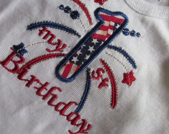 toddler birthday tshirt, onsie, fireworks with number, short  sleeve  FREE momogram  12mos 18mos, 24mo, 2t 3t,3t,4t