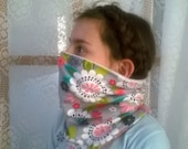 Gray flower power, Running Scarf, cowl, gator, Ski Mask, snood, tube scarf