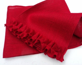 Red Burlap Table Runner Select Your Size Over 20 Colors To Choose From French Country Table Settings Burlap Table Runner with Ruffles