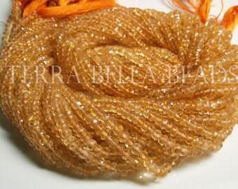 """Full 13"""" strand golden CITRINE faceted gem stone rondelle beads 3mm - 3.5mm yellow"""