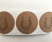 Kraft labels / 2 inches / Horseshoe labels / set of 24 / Kentucky Derby / western Party