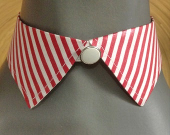 French 1960s Woman Detachable Pointed Collar Neck Band - White & Red Stripes - MADE IN FRANCE - New - S