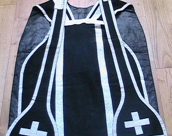 French 1800s Christian Pastor Priest Mass Clergy Chasuble Stole Vestment & Cross Embroideries - Rare