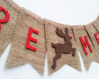 SALE BE MERRY Burlap Bunting with Felt Letters and Reindeer