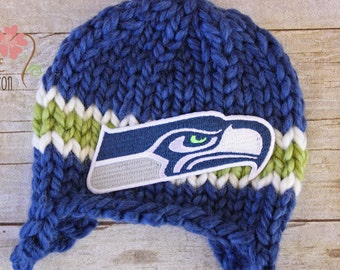 RUSH READY To SHIP - Seahawks Knit Earflap Beanie, Newborn Photography Prop, Seattle Seahawks Football Team Newborn Baby Hat Blue and Green