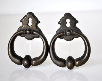 Vintage Antiqued Brass Ring Drawer Pulls