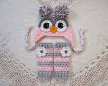 Light Grey and Baby Pink Owl Crochet Hat and Legwarmers - Photo Prop Set - Available in Newborn to Toddler Size - Any Color Combo