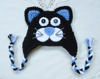 Black and Periwinkle Blue Kitty Cat Crochet Hat - Photo Prop - Available in Any Size or Color Combination