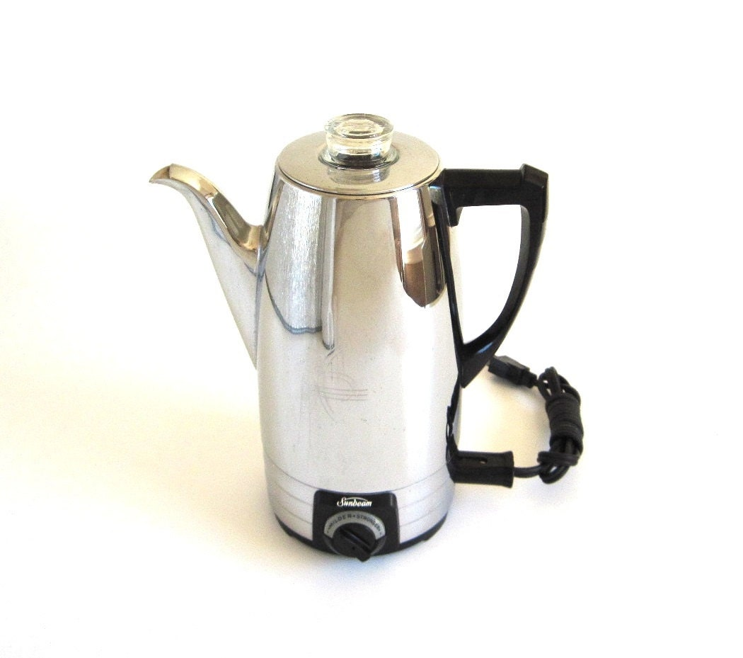 Sunbeam Percolator Coffee Maker : Sunbeam Percolator AP8A Electric Coffee Pot Vintage Chrome
