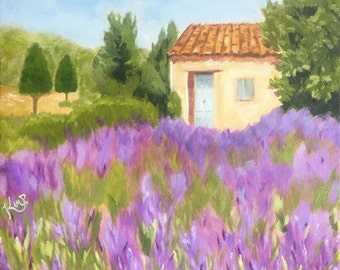 Original oil painting: Lavender field Provence landscape painting original oil painting on canvas