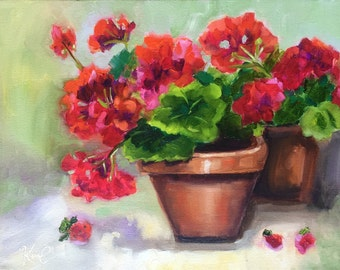 Original oil painting: Red Geraniums in terracotta pots  floral still life, impressionism, red, green, flowers
