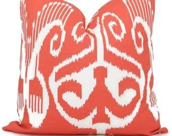 Quadrille Orange Nomad Ikat Pillow Cover 18x18, 20x20 , 22x22, Eurosham or Lumbar pillow Accent Pillow, Throw Pillow, Toss Pillow