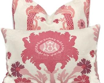 Pink Floral Pillow Cover, Quadrille Henroit, Eurosham or Lumbar pillow, Accent Pillow, Throw Pillow, Toss Pillow, Trellis Pillow