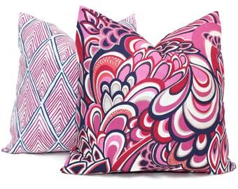 Decorative Pillow Cover, Duralee Showgirl Magenta Blue Paisley. Square, Euro sham or Lumbar pillow, Accent pillow, Throw pillow toss pillow
