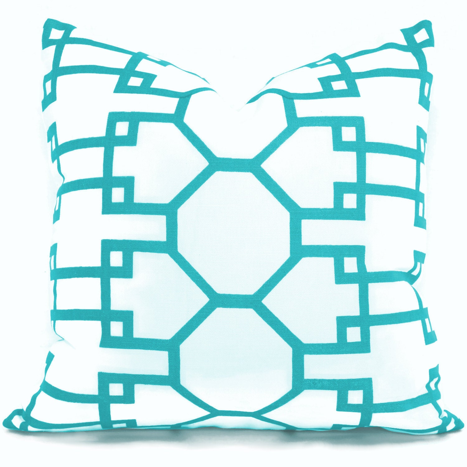 Queen Throw Pillows : Quadrille Turquoise Brighton Pillow Cover Square Eurosham or