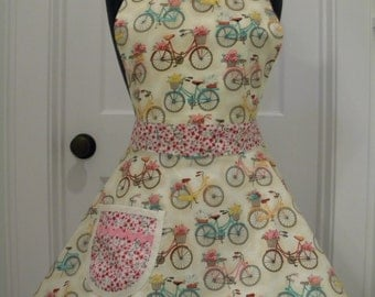 Womens Apron-Bicycles and Baskets Floral Full Sweetheart Apron