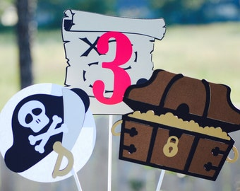 3 piece Pirate Birthday Party Centerpiece Set/ Pirate Party