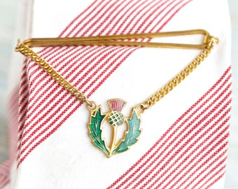 Scottish Thistle - Vintage Tie Clip with Chain - Enamels on Brass - Souvenir from Scotland