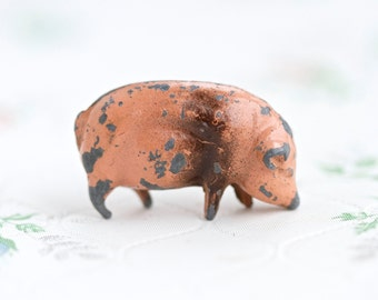Iron Cast Chubby Pink Pig - Antique Farm Lead Toy