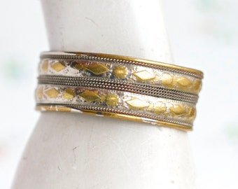 Brass Cuff Bracelet - Wide Vintage Boho Bangle