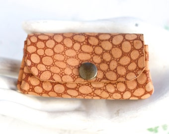 Tiny Leather Purse - Little Boho Coin Wallet - Embossed speckled Suede Change Pouch