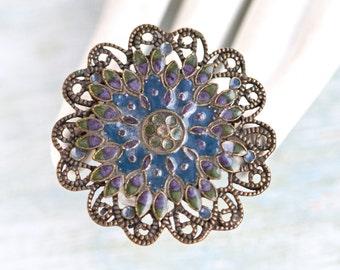 Dark Filigree Flower Brooch - Navy Blue Enamel on Brass Lapel Pin