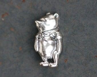 Winnie The Pooh Lapel Pin - Sterling Silver Brooch - Wise Little bear
