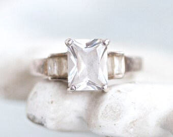 Crystal Engagement Ring - Art Deco Trinity Ring - Sterling Silver - Vintage Ring Size 6.5