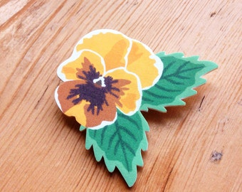 Spring/Summer Yellow Pansy Flower Brooch