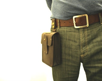 Unique Brown Leather Bag,Small Bag attaching to belt, Men's leather bag,For Him,for every day use,gift idea,personalized, from TIZART