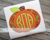 Monogram Pumpkin Fall Applique Design Machine Embroidery INSTANT DOWNLOAD
