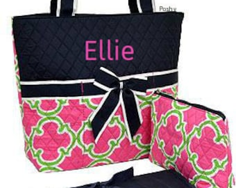 Personalized Diaper Bag in a Pink and Green Geometric Rint Print 3PIECE