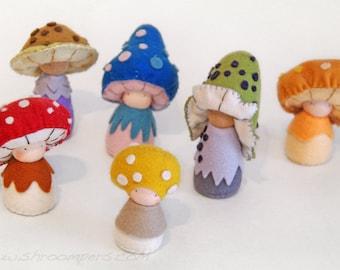 Rainbow pack of felt mushroom dolls, Handmade felt toys, Wool felt animals, Organic toys