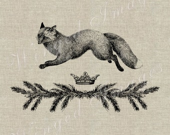 Winter Fox. Instant Download Digital Image No.357 Iron-On Transfer to Fabric (burlap, linen) Paper Prints (cards, tags)