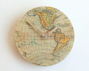 Objectify Vintage Map Clock