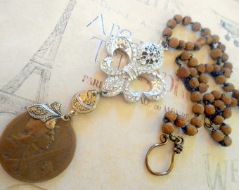 French Assemblage Necklace, Military Medal, World War I, Verdun, Vernier, Fleur de Lis, Repurposed, Upcycled, Recycled, Stanhope Rosary