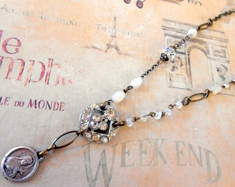 Saint Therese Religious Necklace, Assemblage, French Medal, Rhinestone Button, Eclectic, Mother of Pearl, Repurposed, Upcycled, Recycled