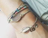 CAURI bracelet / Glitter braided cord / Summer Bracelet /  Boho jewelry