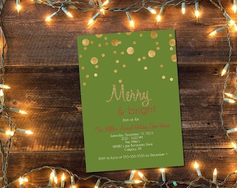 Printable Christmas Party invitation / gold Christmas party invitation / Christmas open house invitation / holiday party invitation