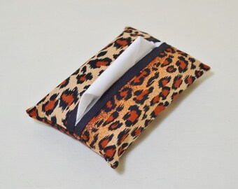 Fabric Tissue Holder - Pocket Tissue Pouch - Tissue Cover - Purse Accessory - Animal Cheetah Print - Black - Teacher Thank You Gift