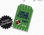 Editable Football Party Favor Tags - Instant Download PDF Template - Editable PDF .. fb01