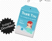 Editable Mermaid Party Favor Tags - Instant Download PDF Template - Editable PDF .. mp02