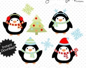 Winter Penguins Graphics - Winter Themed Digital Clipart - Personal and Commercial Use wp02