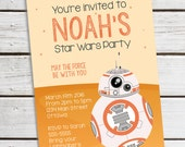 Personalized Printable BB8 Invitation - Personalized Printable Invite featuring BB8 Droid for Star Wars themed Parties .. sw01