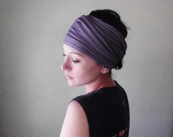 EGGPLANT Hair Wrap - Muted Purple Jersey Head Jersey - Yoga Headband - Pale Plum Yoga Hair Accessories by EcoShag