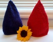 Twinsies gnome homey hats in red and blue, Gnomeo and Juliet! Haloween costume, elf, elves, gnomes, twins, multiples, size toddler to adult