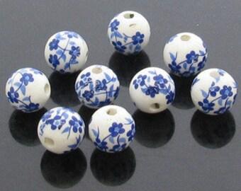 20 pcs 12mm chinese vintage folk  blue and white porcelain beads for diy bracelet