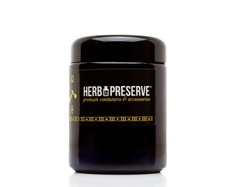 Herb Preserve's Smell Proof Nug 420 Stash Jar - 250 ml Holds 1/2 Ounce Dried Herbs - Black Glass Screwtop Herb Stash Jar