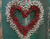 Heart Wreath - Valentine Wreath - Heart Wreath - Valentine Gift - Door Wreath- Two Sizes