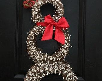 Christmas  Wreath - Snowmen Wreath - Snowman Wreath - Choose Scarf - Two sizes to choose from
